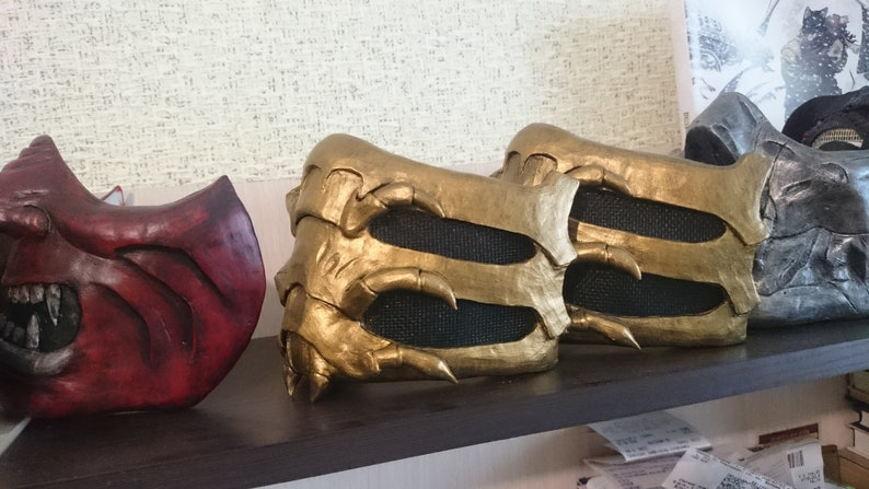 Props Collecting Cosplay Gift Scorpion/'s mask from Mortal Kombat 9 and X Costume