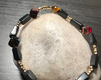 stackable stretch obsidian and tigers eye bracelet
