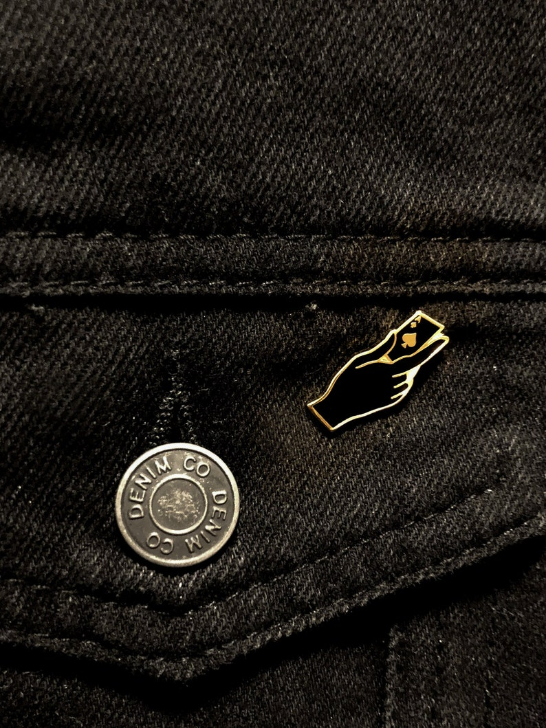 Ace of Spades Black and Gold Enamel Pin playing card in hand lapel pin Asexuality