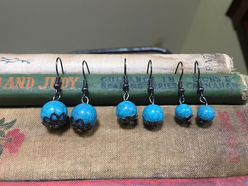 Fish Hook Earrings Blue Bead Earrings Lux Lisbon Blue Veined Bead Drop Earrings Metal Bead Cap