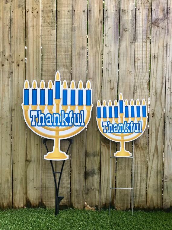 Large Thankful Menorah Hanukkah Shaped Lawn Decorations Outdoor Chanukah Yard Decorations Happy Hanukkah Lawn Hanukkah Yard Art