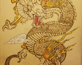 chinese dragon art etsy