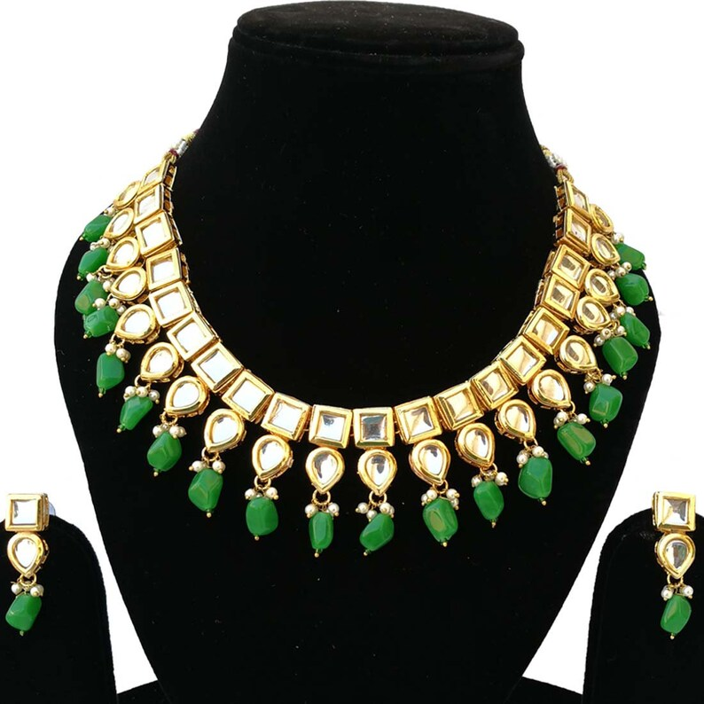 Finekraft Fascinating Traditional Indian Bridal Wedding Designer Kundan Choker Necklace Jewelry With Earrings Set