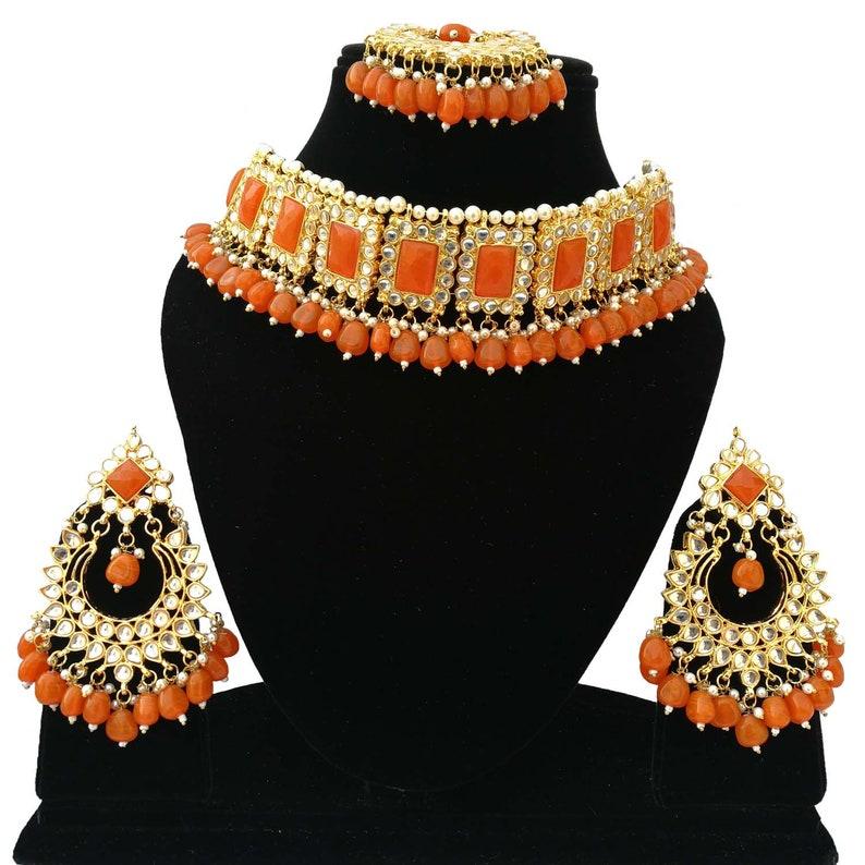 Finekraft Indian Bridal Kundan Choker Necklace jewellery Earrings Tikka Set