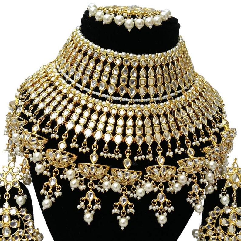 Finekraft Pearls Designer INDIAN TRADITIONAL Gold Plated Bridal Bollywood Style Wedding Designer Kundan Necklace Jewelry Earrings Tikka Set