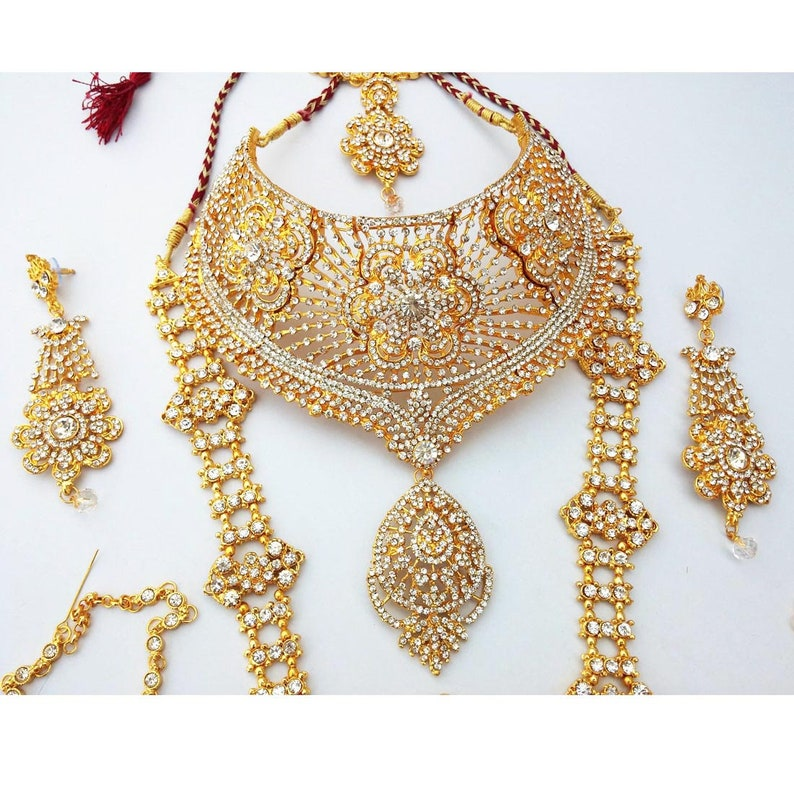 Finekraft New Arrival Complete Traditional Indian Grand Bridal Wedding Designer Kundan Zircon Necklace Jewelry Set