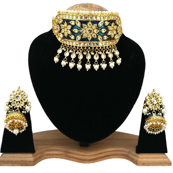Latest Pearls Designer Kundan Necklace,Indian Jewelry,Bridal Jewelry Finekraft INDIAN KUNDAN NECKLACE Bollywood Kundan Choker Necklace Set