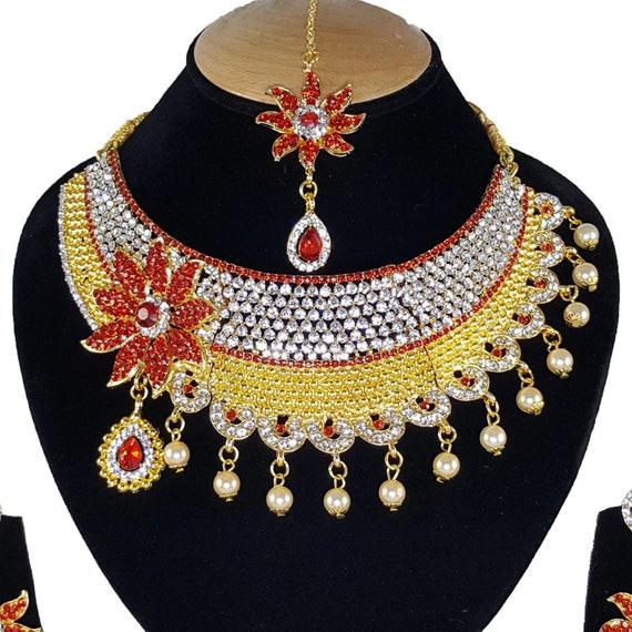 Finekraft Indian Bridal Kundan Zircon Choker Necklace jewellery Earrings Tikka Set