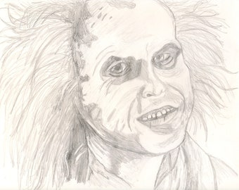 Original Hand Drawn Beetlejuice drawing.