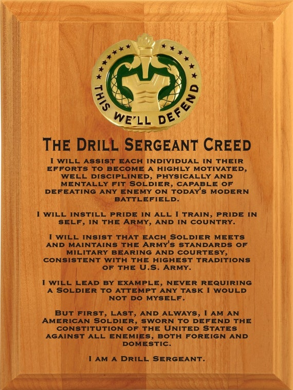 the drill sergeant creed plaquearmy plaquemilitary