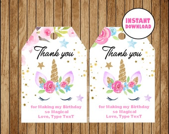 Party Wedding Thank You Gift Unicorn and Hummingbirds Tags Lot of 6