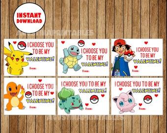 image regarding Pokemon Valentine Cards Printable identify Dana Alley upon Etsy