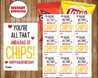 graphic relating to All That and a Bag of Chips Printable called Valentines chip baggage Etsy