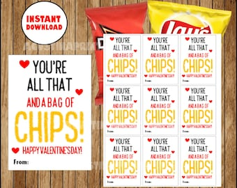 image regarding All That and a Bag of Chips Printable identified as Valentines chip luggage Etsy