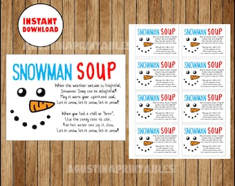 photograph about Free Printable Snowman Soup Labels identified as Snowman soup printable Etsy SG