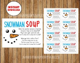 photograph about Free Printable Snowman Soup Labels identify Snowman soup printable Etsy SG