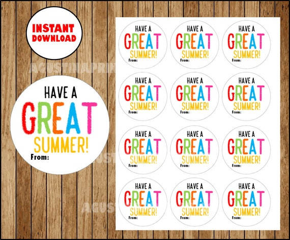 Instant Download Have A Great Summer Gift Tag End Of Etsy