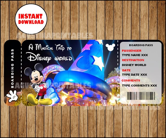 picture regarding Disney World Printable Tickets titled Printable Ticket in the direction of Disney, Disneyworld Boarding P, Customizable Template, Electronic Document, Your self Fill and Print, Prompt Down load