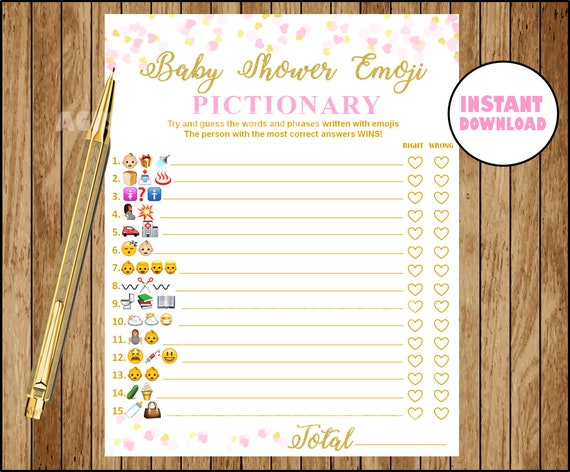Baby Shower Emoji Pictionary Pink And Gold Emoji Pictionary Etsy