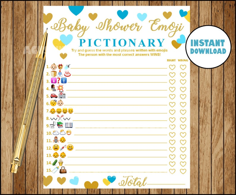 Baby Shower Emoji Pictionary Blue And Gold Emoji Pictionary Etsy
