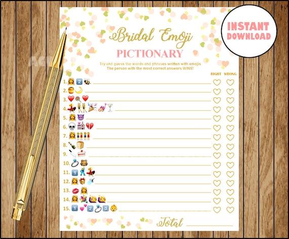 Emoji Game Coral And Gold Bridal Shower Wedding Emoji Etsy