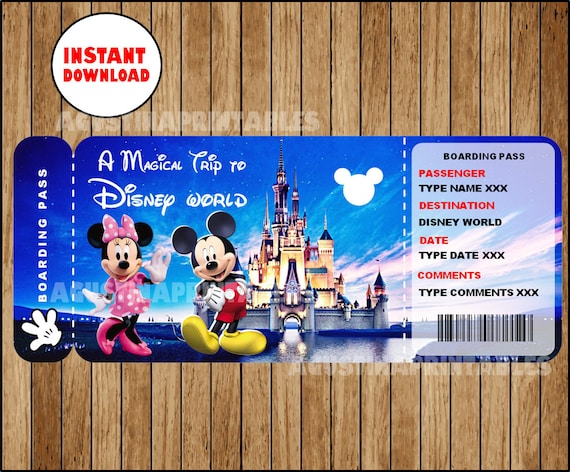 photograph about Disney World Printable Tickets known as Printable Ticket in direction of Disney, Disneyworld Boarding P, Customizable Template, Electronic Document, Yourself Fill and Print, Fast Down load