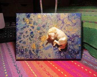 Cosmic Baby Unicorn on Acrylic Pour Canvas