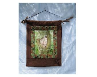Green Man - Wall Hanging - Textile/Photo Collage Art