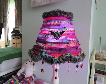 Boho Table/Ceiling Lampshade. Vintage textured materials. Mixed colours. Beaded trim.