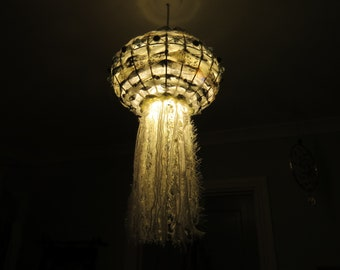 Boho Ceiling Lampshade, 'Shade of Grey'. Alien spacecraft theme.
