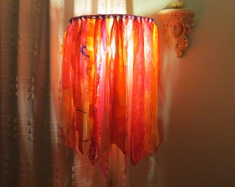 Lampshade for standard / floor / large table lamp. Sunshine colours. Upcycled materials/fabrics. Funky, Boho, hippy, fun.