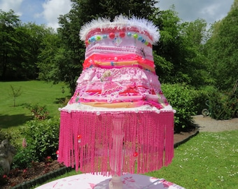 Boho pink Table Lampshade. Pink, Beads, Fabrics, Long tassels, Fairy.