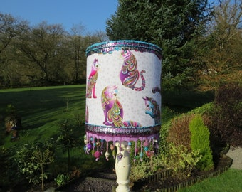 Cat themed Table/Floor Lampshade in purple, turquoise, magenta, green & white, with bead medley trim
