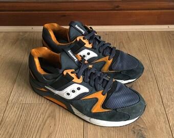 online retailer f03d6 b08cf Saucony Grid 9000 Premium Pack Trainers Rare Blue-grey Orange UK 9