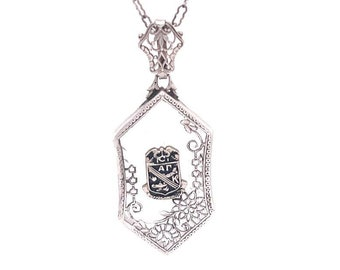 Vintage Sterling Silver Frosted Glass Necklace Victorian Style