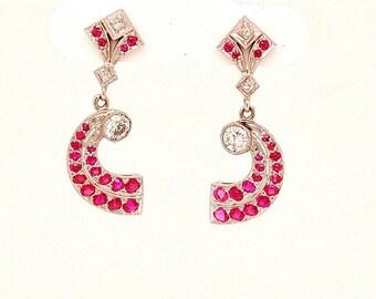 True 1920's Vintage Platinum Ruby and Diamond Earrings