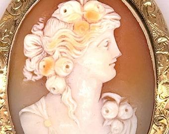 Flora Goddess Antique Hand Carved Cameo Pin