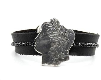 Custom Leather and Black Diamond Coin Bracelet