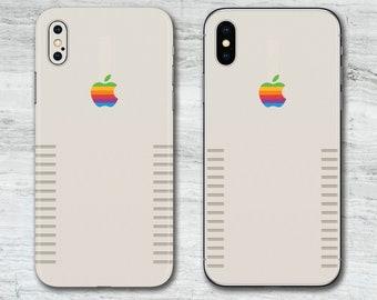 Beige Retro Vintage Rainbow Apple Mac Printed iPhone Skin  ca0ee72c87