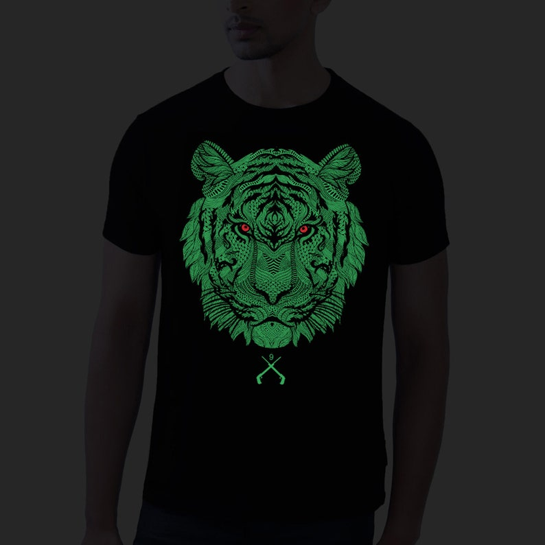 b256eeec0b80 Glow Tiger Face Glow In The Dark Shirt Mens Gift Cool Tees | Etsy