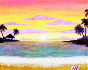 burnt orange Palapa and chair on the Beach Surfboards on the Beach Hawaiian Islands Beach Chair on the beach Tropical Flowers
