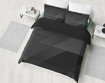 Dark Grey Abstract black Bedding Set, Duvet Cover, 2 Pillow Cases, Bedroom Decor, Bedroom Set, Twin, Full, Queen, King