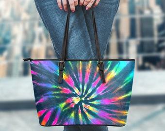 Crossbody Strap Messenger Bag Blue Multicolor Tie Dye Design