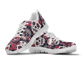 Sugar Skulls Red Roses Floral Flowers Sneakers, Skull Shoes, Running Shoes, Training Shoes, Casual Shoes, Custom Shoes, Womens, Girls