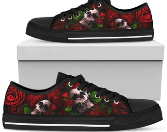 Red Skull Roses Sugar Mens Casual Old Skool Lace-up Low top Canvas Skateboarding Shoes Fashion Sneakers