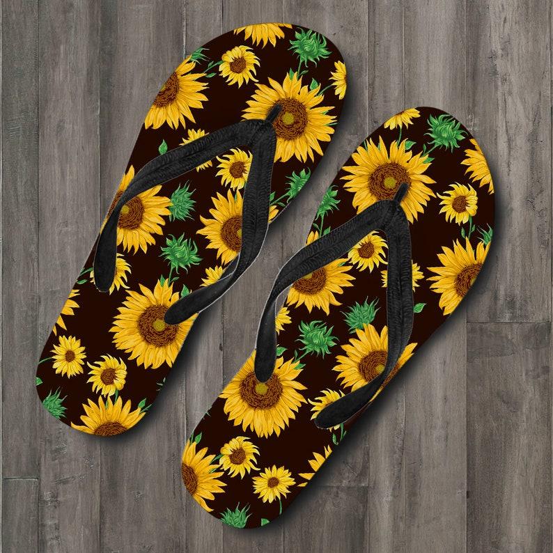 Casual Slippers Sandals Sunflowers Floral Flowers Flip Flops Beach Flip Flops Womens