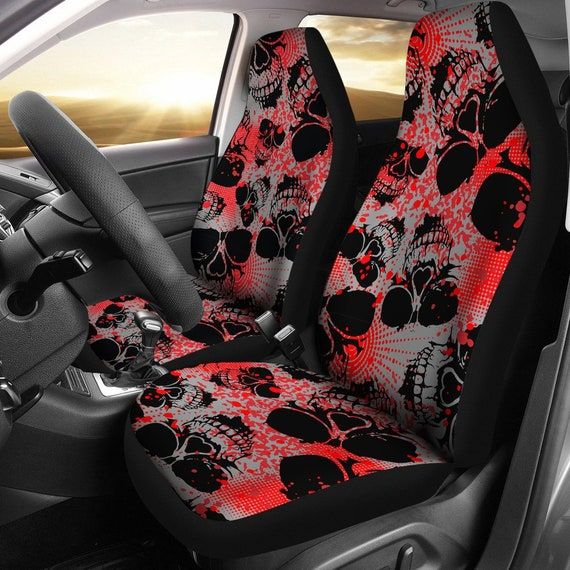 Red Skulls Black Car Seat Covers Pair 2 Front