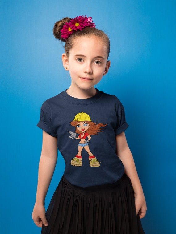 Unisex Youth T-Shirt Construction Worker Girl Cartoon Anime Kids T-Shirt Girls Boys Short Sleeve Shirt Graphic Tee