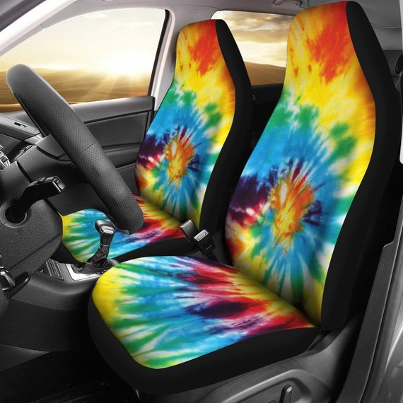Colorful Tie Dye Pattern Car Seat Covers Pair 2 Front