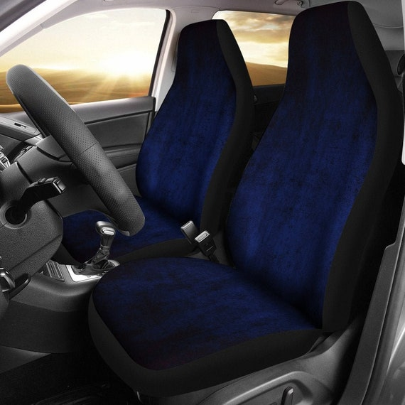 Dark Navy Blue Grunge Car Seat Covers Pair 2 Front Car Seat Etsy